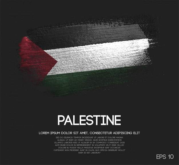 Drapeau de la palestine fait de peinture de pinceau de scintillement de scintillement