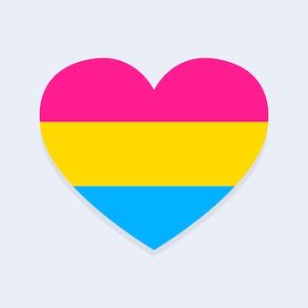 Drapeau pansexuel en forme de coeur