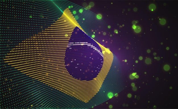 Drapeau de pays brillant lumineux de points abstraits. brésil