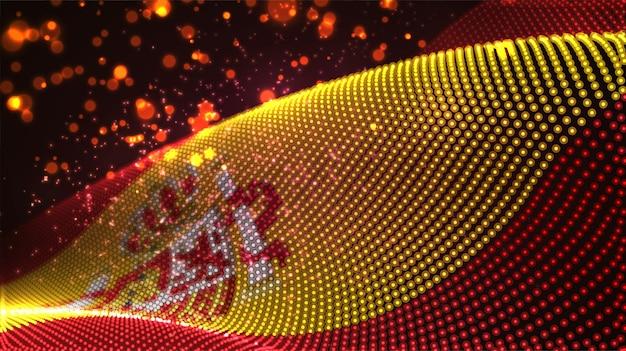 Drapeau de pays brillant et lumineux de points abstraits.espagne