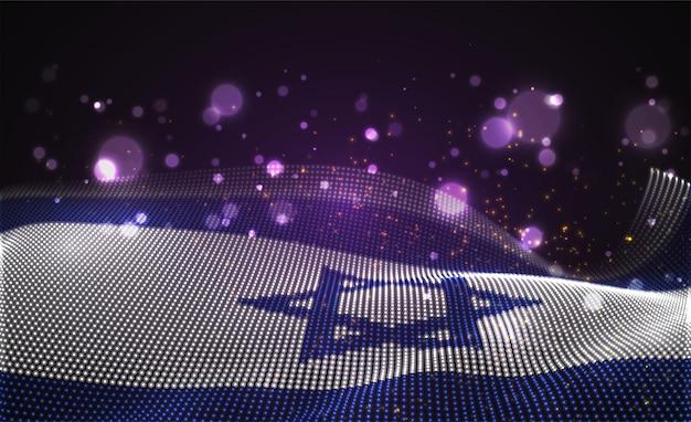 Drapeau de pays brillant et lumineux de points abstraits. israël