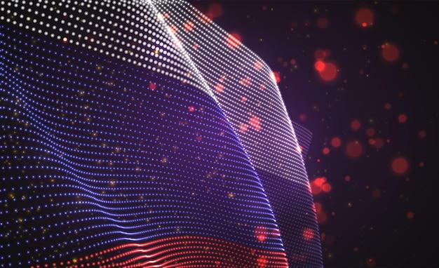 Drapeau de pays brillant lumineux de points abstraits. russie