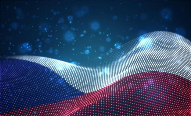 Drapeau de pays brillant lumineux de points abstraits. tchèque