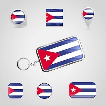 Drapeau de pays de cuba sur porte-clés et carte style différent pin