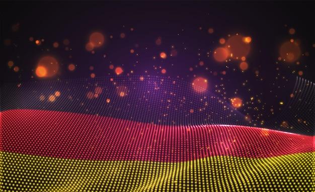 Drapeau de pays lumineux lumineux de vecteur de points abstraits. allemagne