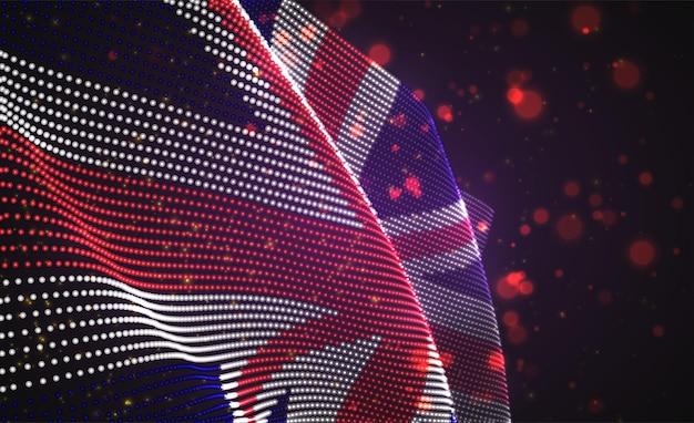 Drapeau de pays lumineux lumineux de vecteur de points abstraits. angleterre