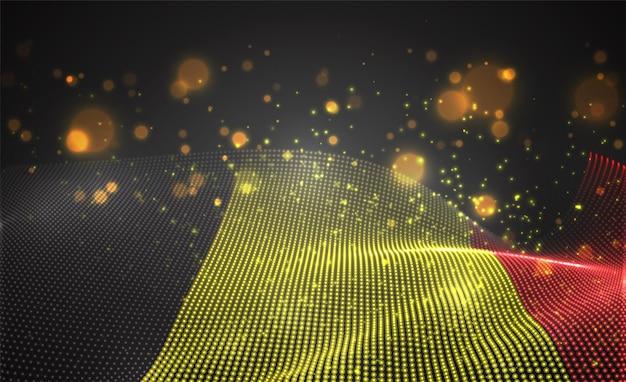 Drapeau de pays lumineux lumineux de vecteur de points abstraits. la belgique