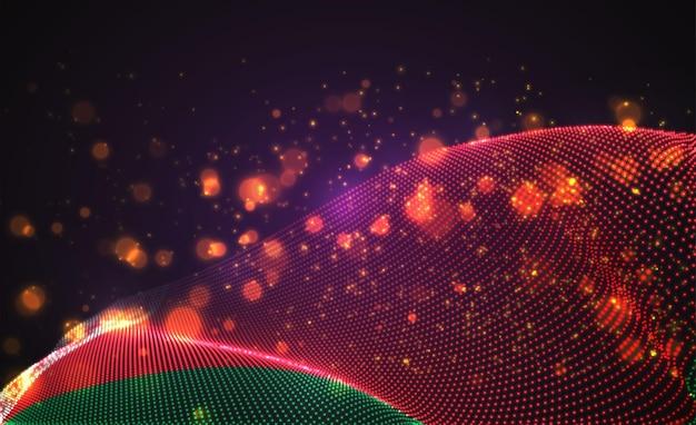 Drapeau de pays lumineux lumineux de vecteur de points abstraits. biélorussie