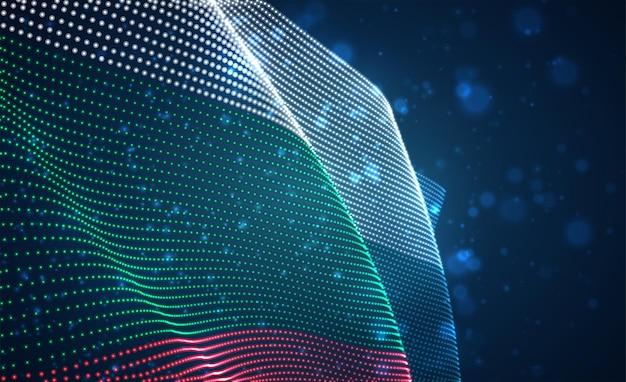 Drapeau de pays lumineux lumineux de vecteur de points abstraits. bulgarie