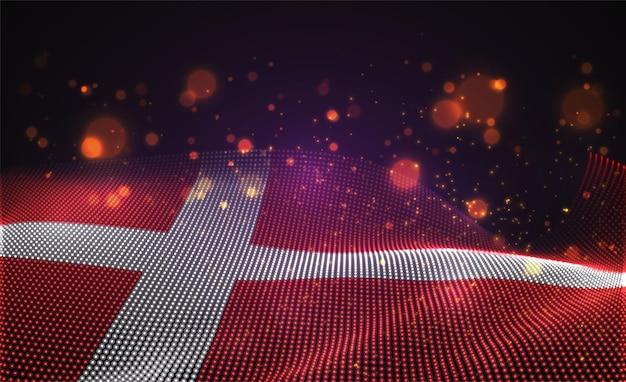 Drapeau de pays lumineux lumineux de vecteur de points abstraits.danemark