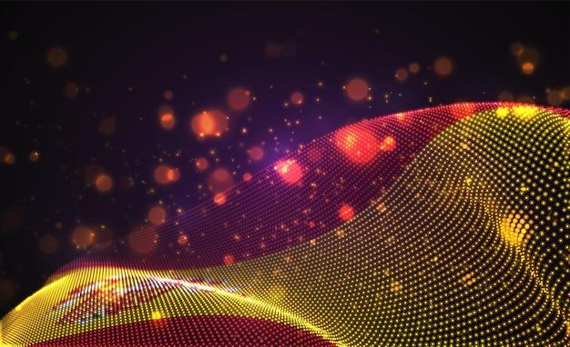 Drapeau de pays lumineux lumineux de vecteur de points abstraits.espagne