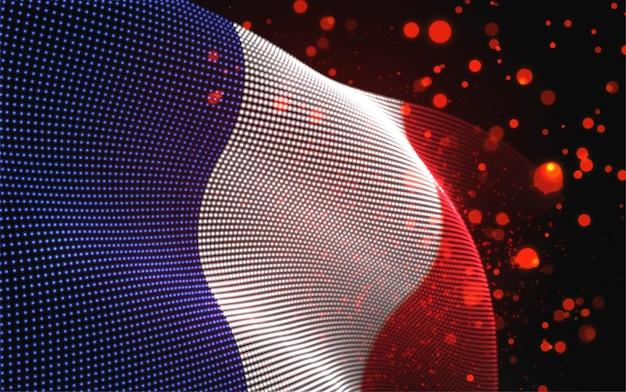 Drapeau de pays lumineux lumineux de vecteur de points abstraits. la france