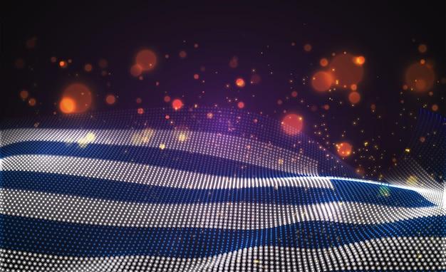 Drapeau de pays lumineux lumineux de vecteur de points abstraits. grèce