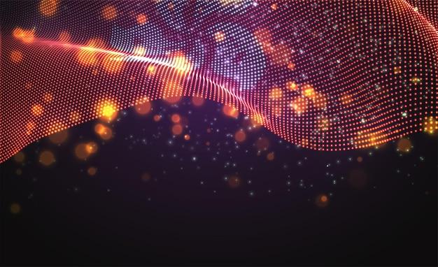 Drapeau de pays lumineux lumineux de vecteur de points abstraits. hong kong