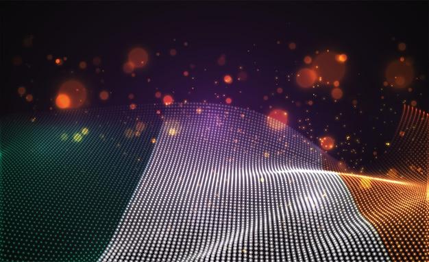 Drapeau de pays lumineux lumineux de vecteur de points abstraits. irlande