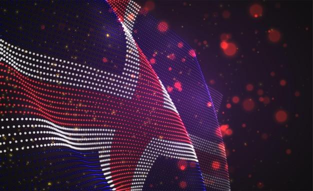 Drapeau de pays lumineux lumineux de vecteur de points abstraits. islande