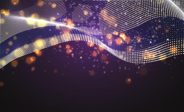 Drapeau de pays lumineux lumineux de vecteur de points abstraits. israël