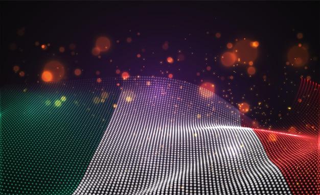 Drapeau de pays lumineux lumineux de vecteur de points abstraits. italie