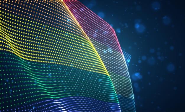 Drapeau de pays lumineux lumineux de vecteur de points abstraits. lgbt arc-en-ciel