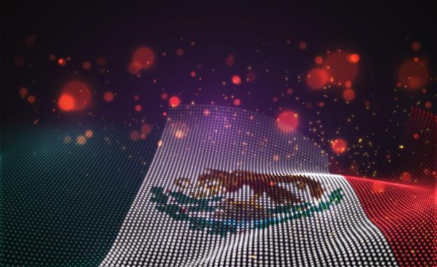 Drapeau de pays lumineux lumineux de vecteur de points abstraits. mexique