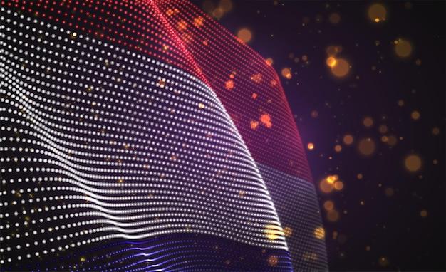 Drapeau de pays lumineux lumineux de vecteur de points abstraits. pays-bas, amsterdam