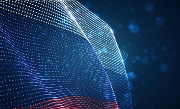 Drapeau de pays lumineux lumineux de vecteur de points abstraits. russie