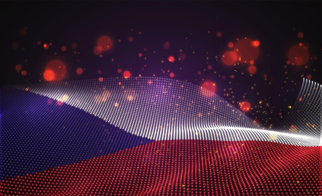 Drapeau de pays lumineux lumineux de vecteur de points abstraits. tchèque