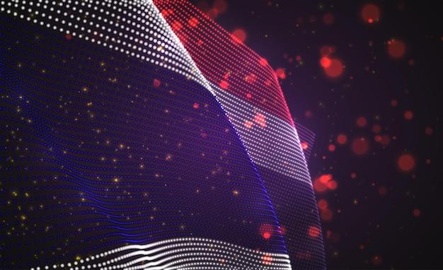 Drapeau de pays lumineux lumineux de vecteur de points abstraits. thaïlande
