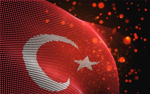 Drapeau de pays lumineux lumineux de vecteur de points abstraits. turquie