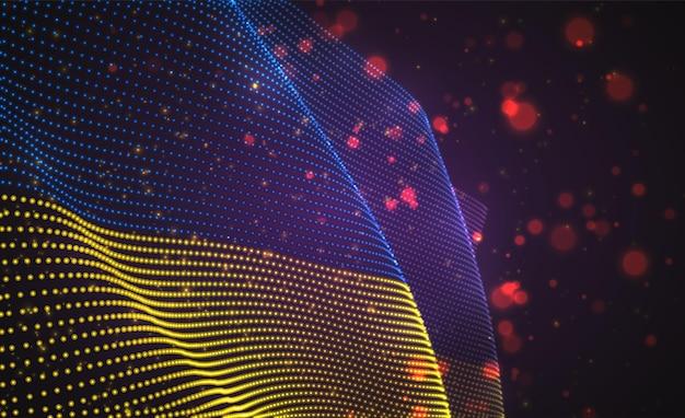 Drapeau de pays lumineux lumineux de vecteur de points abstraits. ukraine