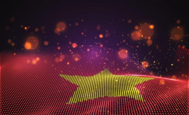 Drapeau de pays lumineux lumineux de vecteur de points abstraits. viêt nam