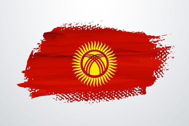 Drapeau de peinture pinceau kirghizistan