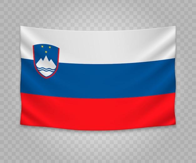 Drapeau de pendaison réaliste de la slovénie