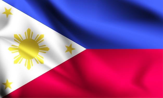 Drapeau des philippines dans le vent. partie d'une série. philippines, agitant le drapeau.