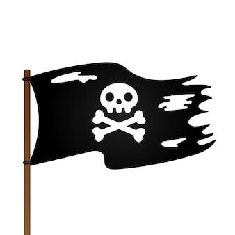 Drapeau pirate avec crâne jolly roger et os croisés