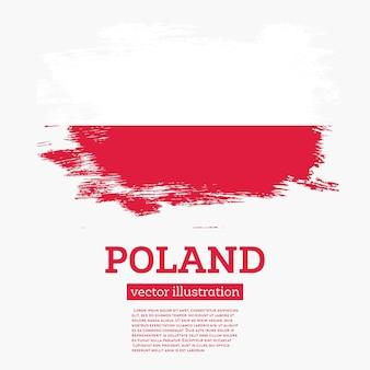 Drapeau de la pologne avec des coups de pinceau. illustration vectorielle.