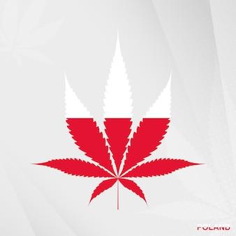 Drapeau de la pologne en forme de feuille de marijuana. le concept de légalisation du cannabis en pologne.