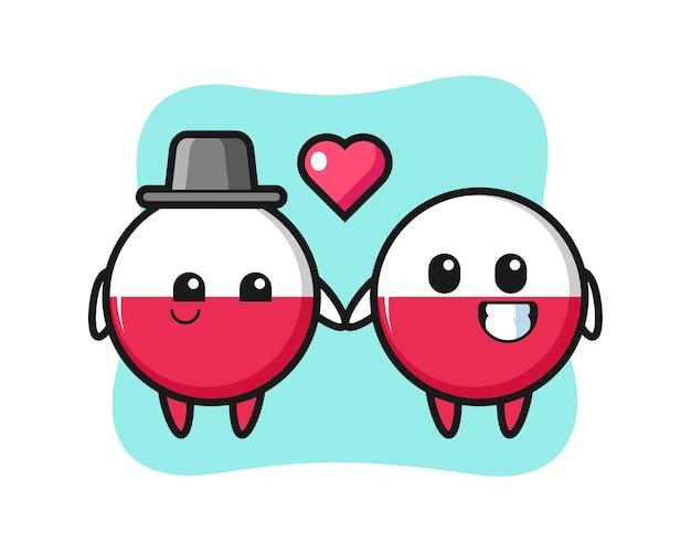 Drapeau de la pologne insigne couple de personnage de dessin animé avec le geste de tomber amoureux
