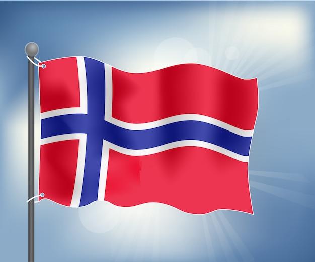 Drapeau réaliste de la norvège