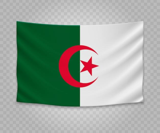 Drapeau réaliste suspendu de l'algérie