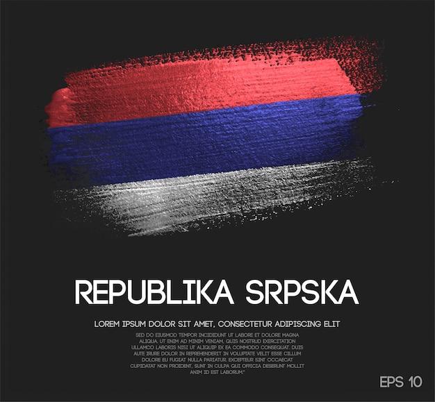 Drapeau de la republika srpska fait de la peinture de pinceau d'étincelle de scintillement