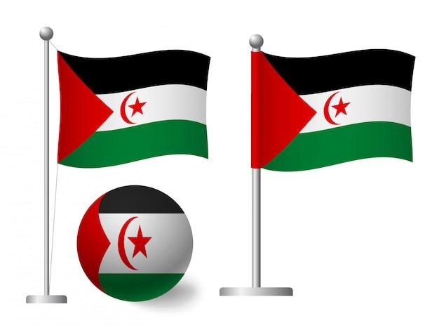 Drapeau de la république arabe sahraouie démocratique sur l'icône de poteau et boule