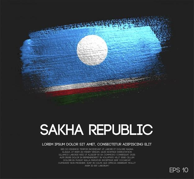 Drapeau de la république de sakha fait de la peinture de pinceau d'éclat de paillettes