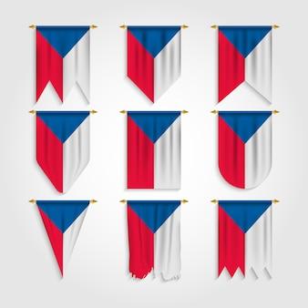 Drapeau de la république tchèque avec différentes formes, drapeau de la république tchèque en différentes formes