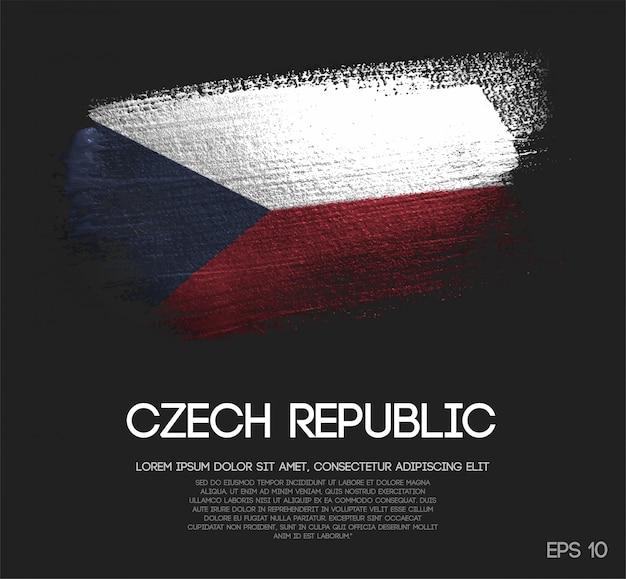 Drapeau de la république tchèque en peinture scintillante à paillettes scintillantes