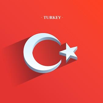 Drapeau de la république de turquie 3d plat style