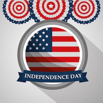 Drapeau rond étiquette fête de l'indépendance américaine