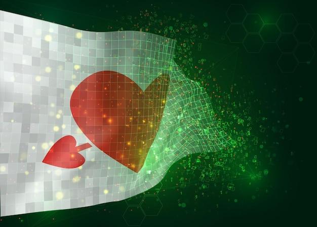 Drapeau rose avec un coeur pour la saint-valentin sur le drapeau 3d vectoriel sur fond vert avec des polygones et des numéros de données