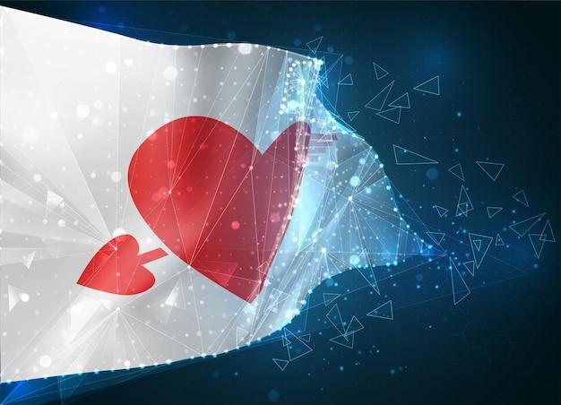 Drapeau rose avec un coeur pour la saint-valentin sur fond bleu avec des polygones triangulaires