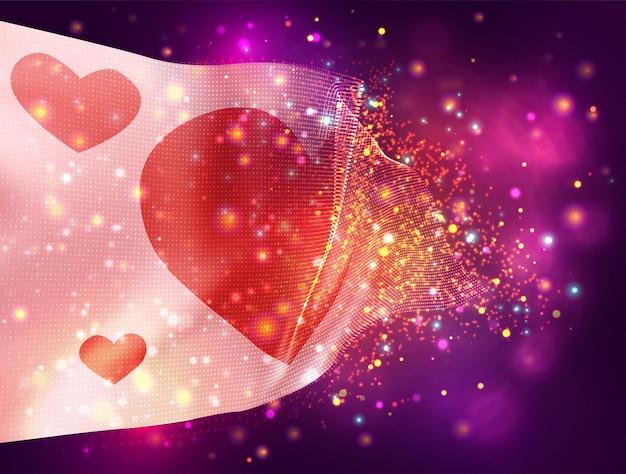 Drapeau rose avec coeur pour la saint valentin vecteur drapeau 3d sur fond violet rose avec éclairage et fusées éclairantes